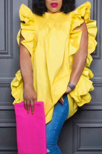 Yellow Casual Solid Split Joint Flounce Fold O Neck Tops