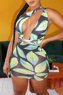 Light Green Fashion Sexy Print Bandage Backless One Shoulder Sleeveless Dress Dresses