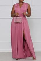 Pink Fashion Casual Plus Size Solid Bandage Backless Slit V Neck Sleeveless Dress