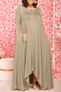 Khaki Fashion Casual Solid Asymmetrical O Neck Long Dress