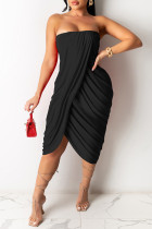 Black Sexy Casual Solid Backless Strapless Irregular Dress