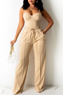 Nude Fashion Sexy Solid Split Joint Backless Spaghetti Strap Sleeveless Two Pieces