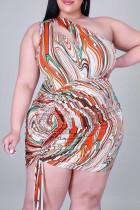 Orange Fashion Plus Size Print Hollowed Out Fold One Shoulder Sleeveless Dress