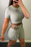 Grey Casual Solid Hollowed Out Split Joint Frenulum O Neck Short Sleeve Two Pieces