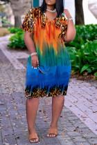 Orange Fashion Casual Print Basic V Neck Short Sleeve Dress