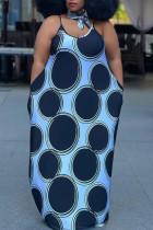 Blue Sexy Casual Plus Size Dot Print Basic Spaghetti Strap Long Dress