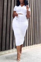 White Fashion Sexy Solid Fold V Neck Short Sleeve Two Pieces