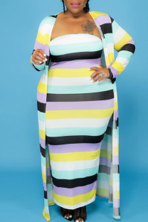 Multi-color Casual Striped Print Split Joint Strapless Long Sleeve Two Pieces