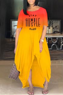 Yellow Fashion Gradual Change Letter Print Basic O Neck Short Sleeve Irregular Dress
