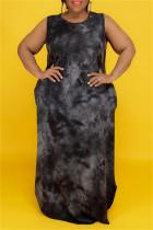 Black Fashion Casual Plus Size Print Tie Dye O Neck Vest Dress