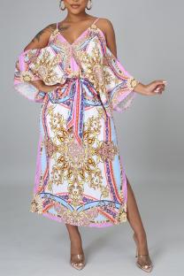 Pink Sexy Print Split Joint Spaghetti Strap Irregular Dress Dresses