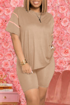 Apricot Fashion Casual Solid Basic O Neck Short Sleeve Two Pieces