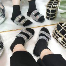 Black Fashion Casual Split Joint Rhinestone Flats Slippers