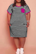 Purple Fashion Casual Plus Size Striped Print Split Joint O Neck Short Sleeve Dress