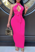 Rose Red Sexy Solid Bandage Hollowed Out Backless Halter Sleeveless Dress