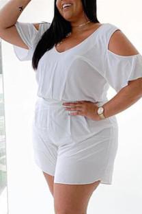 White Fashion Casual Solid Basic V Neck Plus Size Romper