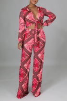Red Sexy Print Split Joint V Neck Long Sleeve Two Pieces