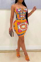 Orange Fashion Sexy Print Bandage Backless Strapless Sleeveless Dress