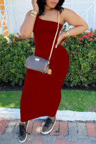 Red Sexy Casual Solid Backless One Shoulder Sleeveless Dress