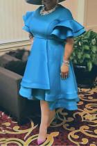 Light Blue Fashion Solid Split Joint Flounce O Neck Irregular Dress