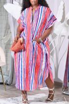Colour Fashion Casual Striped Print Basic V Neck Short Sleeve Dress