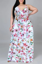 White Pink Fashion Casual Print Backless V Neck Sling Dress