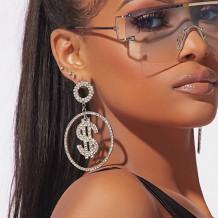 Gold Fashion Pierced Rhinestone Earrings