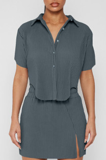 Grey Casual Solid Split Joint Asymmetrical Turndown Collar Short Sleeve Two Pieces