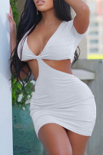 White Sexy Solid Hollowed Out V Neck Pencil Skirt Dresses