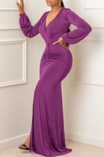 Purple Sexy Solid Fold V Neck Asymmetrical Dresses