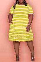 Yellow Fashion Plus Size Striped Print Flounce Fold O Neck Short Sleeve Dress
