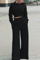 Black Casual Solid Split Joint Backless Hooded Collar Long Sleeve Two Pieces