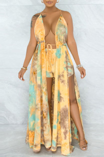 Green Yellow Sexy Print Hollowed Out Split Joint Backless Slit Asymmetrical Sleeveless Two Pieces
