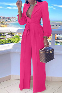 Rose Red Casual Solid Split Joint Turndown Collar Straight Jumpsuits