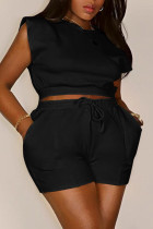 Black Casual Solid Split Joint O Neck Sleeveless Two Pieces