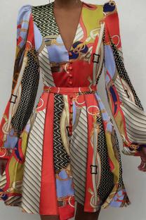Colour Sexy Print Split Joint V Neck Cake Skirt Dresses