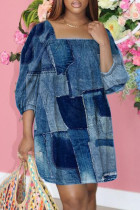 Blue Fashion Casual Print Basic Square Collar Plus Size Dresses