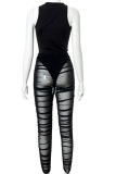 Black Sexy Solid Mesh O Neck Sleeveless Two Pieces