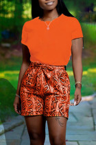 Orange Casual Print Split Joint O Neck Short Sleeve Two Pieces