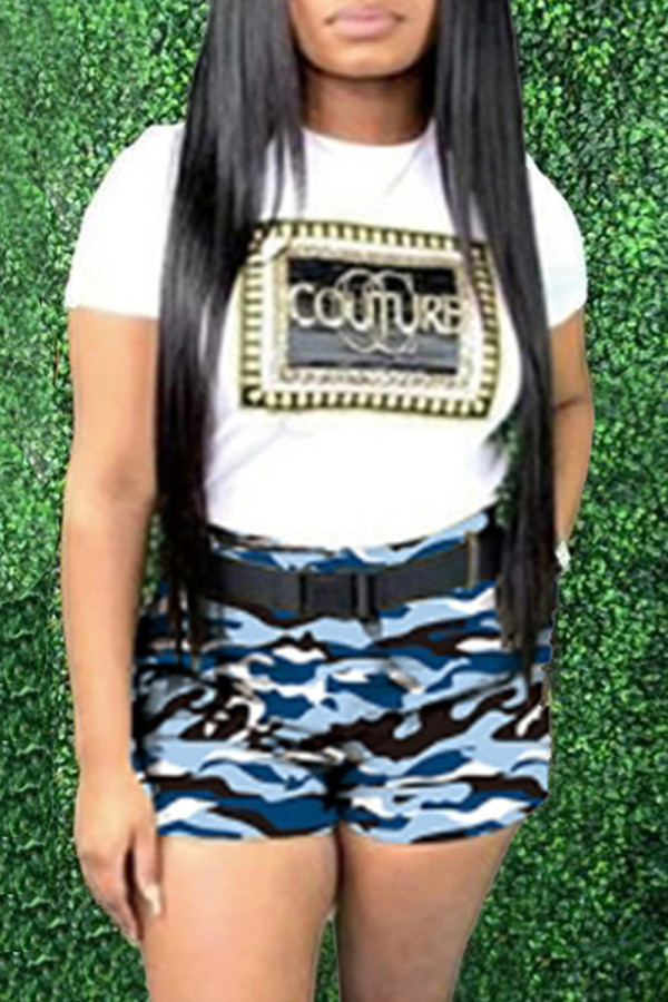 Blue Fashion Letter Print Camouflage Print Without Belt O Neck Plus Size Two Pieces
