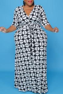 Black Casual Print Bandage Split Joint V Neck Long Sleeve Plus Size Dresses