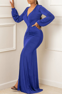Blue Sexy Solid Fold V Neck Asymmetrical Dresses
