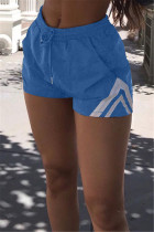 Water Blue Casual Solid Split Joint Regular Mid Waist Shorts