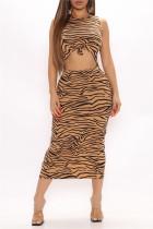 Tiger Pattern Fashion Sexy Animal Print Print Hollowed Out O Neck Vest Dress