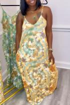 Orange Sexy Print Backless Spaghetti Strap Sleeveless Dress