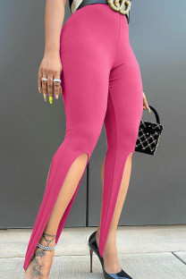 Rose Red Sexy Solid Split Joint Asymmetrical Skinny High Waist Pencil Solid Color Bottoms