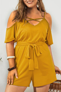 Yellow Casual Solid Split Joint Backless Spaghetti Strap Plus Size Jumpsuits