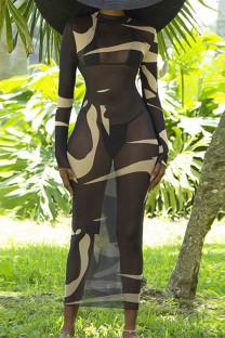 Black Sexy Print Split Joint See-through O Neck Pencil Skirt Dresses