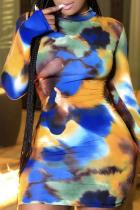 Deep Blue Sexy Patchwork Tie-dye Half A Turtleneck Pencil Skirt Dresses