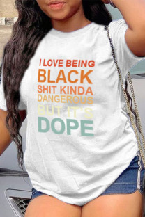 White Casual Letter Print Split Joint O Neck T-Shirts
